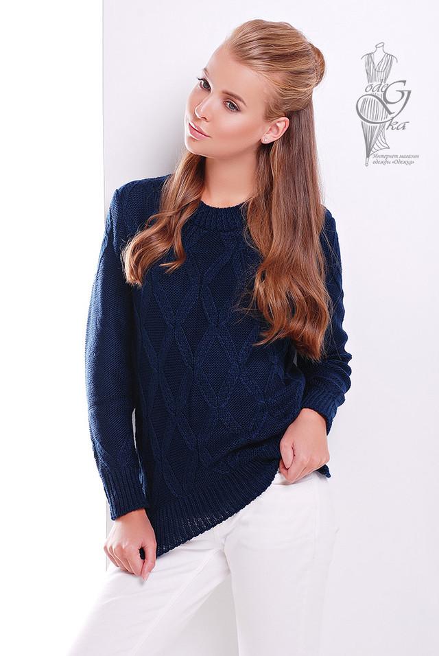 Синий цвет Джемпера женского вязаного Ромб