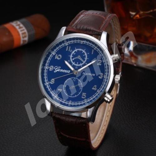 Мужские кварцевые часы Geneva Plainum Brown stripe V.1