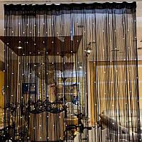 Кисея шторы нити Блистер 9+111 (черные нити +белый жемчужины )