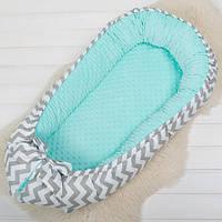 """Кокон для новорожденных плюшевый, защита в детскую кроватку, люлька для сна """"Плюшевый зиг"""", фото 1"""