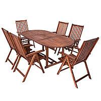 Стол и стулья для сада из дерева акации