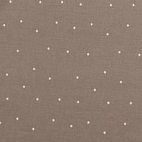 Хлопковая ткань Точки молочные на коричневом, фото 1