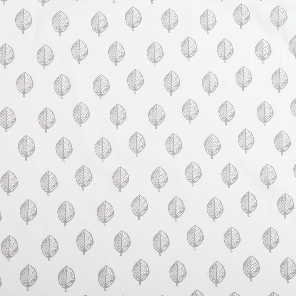 Бавовняна тканина Листочки тауп на молочному