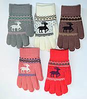 Детские трикотажные перчатки для девочек с оленем - длина 19 см