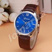 Мужские кварцевые часы Geneva Blue Brown stripe