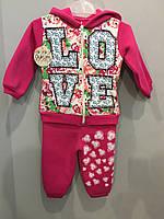 Утепленный трикотажный костюм для девочки