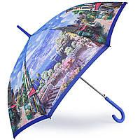 Интересный женский зонт-трость, полуавтомат ZEST (ЗЕСТ) Z21625-33 Города, голубой