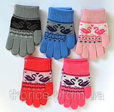 Детские трикотажные перчатки унисекс с лебедями  - длина 13 см
