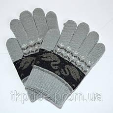 Детские трикотажные перчатки унисекс с лебедями  - длина 13 см, фото 3