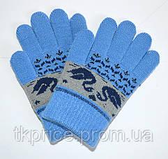 Детские трикотажные перчатки унисекс с лебедями  - длина 13 см, фото 2