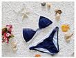 Купальник раздельный, мягкая чашка с вкладышем, плавки слипы - синий 128-02, фото 3