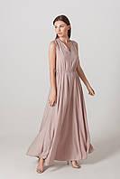 Платье в пол бежевого цвета