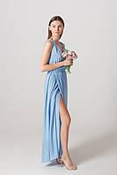 Платье с разрезом в пол голубого цвета