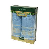 Набор бамбуковых полотенец в коробке - Gursan Bamboo 50*90+70*140 голубой