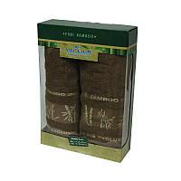 Набор бамбуковых полотенец в коробке - Gursan Bamboo 50*90+70*140 коричневый
