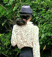 Блузка из натурального хлопкового коллекционного гипюра (№333)