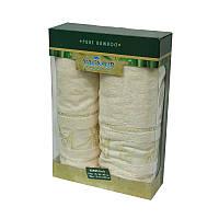 Набор бамбуковых полотенец в коробке - Gursan Bamboo 50*90+70*140 крем