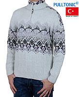 Теплый мужской свитер с узором .Теплый ворот на молнии.