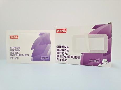 Стерильная пластырная повязка на нетканой основе PinnaPad, 9см х 15см (25шт./уп.)