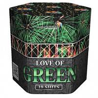 """Салют на 19 выстрелов """"LOVE OF GREEN"""" купить оптом в Одессе не дорого со склада"""