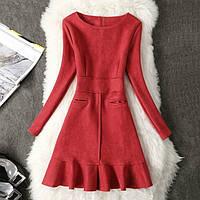 Платье женское под замш с карманами красное