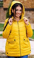 Женская куртка прямого фасона на молнии с накладными карманами и капюшономплащевкахоллофайбер батал