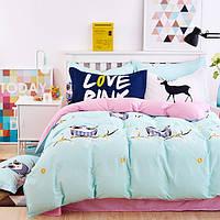 Постельное белье Совушки саржа 100% хлопок комплект полуторный кровать 1.5м