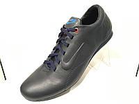 Кожаные мужские кроссовки nike синие