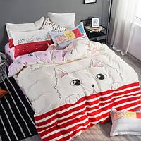 Постельное белье Meaw саржа 100% хлопок комплект евро двуспальный кровать 2.0м