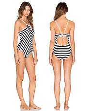 Купальник цельный полосатый хайнек чёрно-белый купальник в полоску слитный 2020 стильный модный 130-41, фото 2