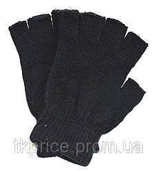 Детские трикотажные перчатки черные без пальцев  - длина 16 см