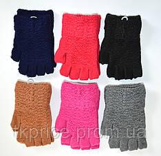 Детские трикотажные перчатки для девочек без пальцев  - длина 16 см