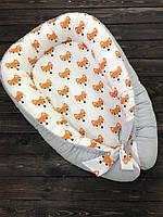 """Кокон-гнездышко для новорожденного """"Рыжие лисички"""""""
