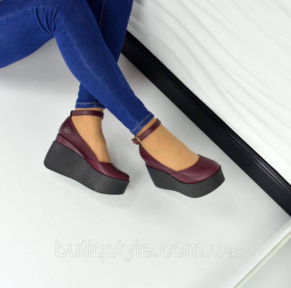 40 размер! Туфли на платформе  с пряжкой сливовые