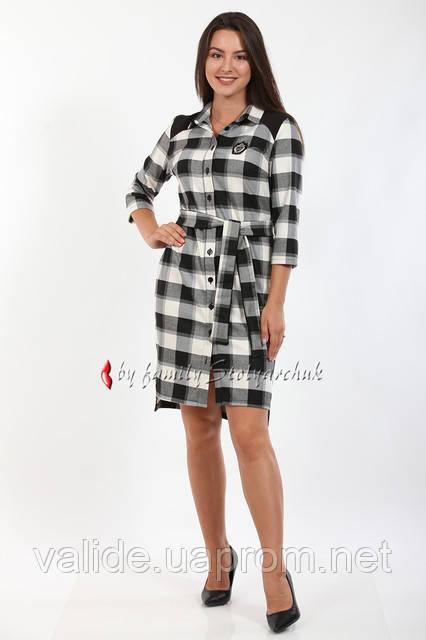 aa5f6c4bead Платье мод. 511-1 повседневное шерстяное деловое с поясом в черно-белую  клетку