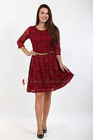 Платье мод. 201-6 бордовое гипюровое на подкладке с 3/4 рукавом и золотистым ремешком