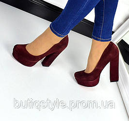 Женские замшевые туфли на устойчивом каблуке марсала