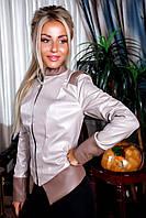 Курточка с эко-кожи на змейке с отделкой кожи- ромбик