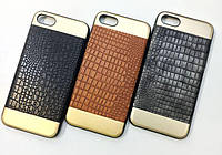 Top and bottom metal lether cover case for iPhone 7