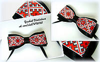 Галстук бабочка в украинском стиле из атласных и репсовых лент ручной работы