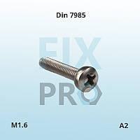 Винт нержавеющий с полукруглой головкой с шлицем Philips, Pozi, Torx DIN 7984 М1.6 А2 ГОСТ 17473-80