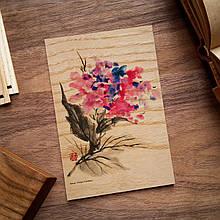 """Деревянная открытка """"Цветок акварель"""""""