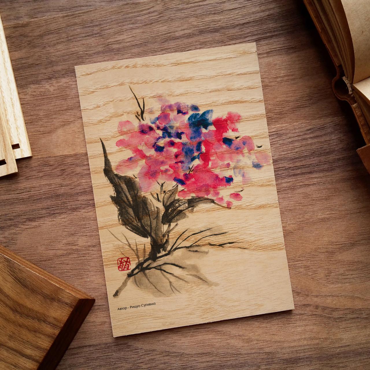 """Деревянная открытка """"Цветок акварель"""", фото 1"""