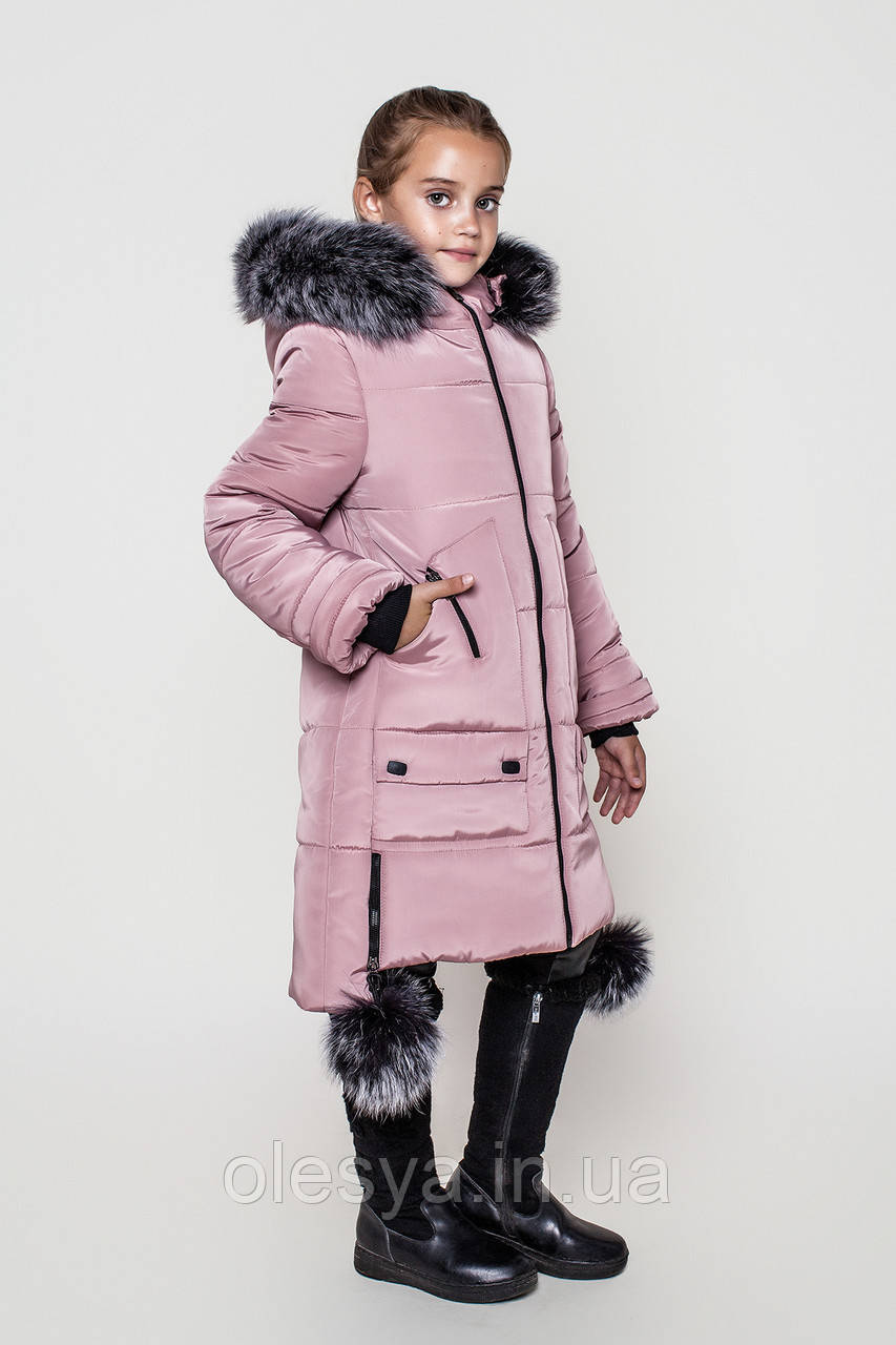 b1204d137182 Пальто детское зимнее Лаура на девочку размер 146 Пудра - Интернет -  магазин Олеся в Каменском