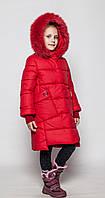Пальто детское зимнее Энди на девочку размеры 128- 158 Красное