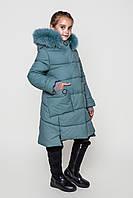 Пальто детское зимнее на девочку на тинсулейте размеры 128- 158 Энди Фисташка