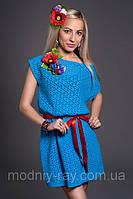 Женское платье летнее с поясом, р46-48