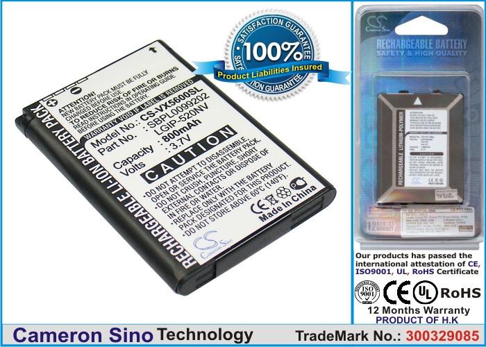 Аккумулятор LG LG-VN150PP 800 mAh Cameron Sino