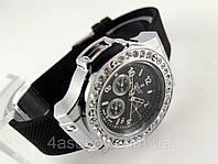 Женкские годинник HUBLOT - Big Bang чорний каучуковий ремінець, колір срібло, прикрашені кристалами, фото 1