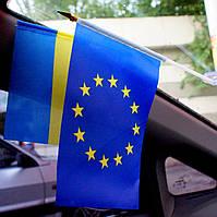 Флаг ЕС в авто, флаг Евросоюза на присоске купить, прапор ЄС купити, купити прапор ЄС в авто., фото 1